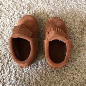 "Kids Minnetonka moccasins called a ""bootie"""